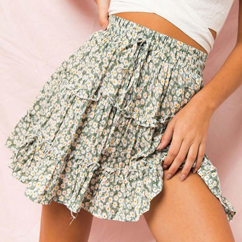 Chân váy ngắn thắt nơ in hoa thời trang cho nữ