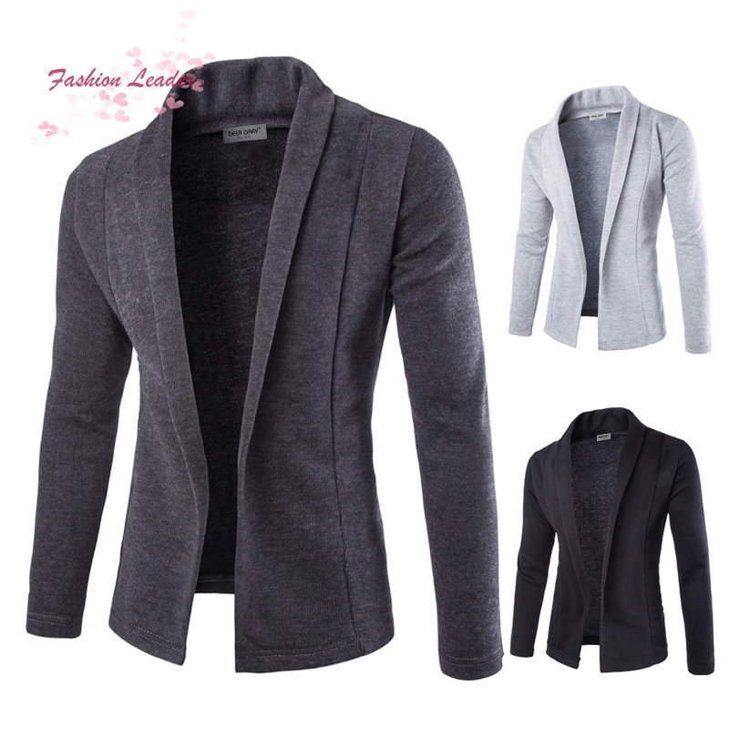 Mens Solid Blazer Cardigan Long Sleeve Casual Slim Fit Sweater Jacket Knit Coat