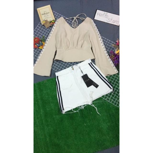 Set áo croptop tay loe và chân váy jean