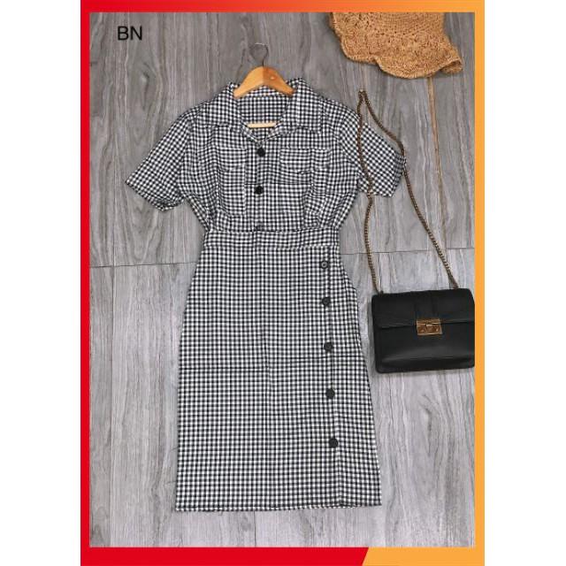 [ Sale Off ] Set áo caro + chân váy bút chì_BN1520 thời trang kb