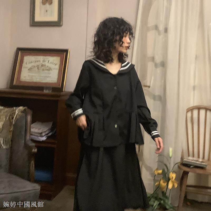 Bộ Áo Thủy Thủ Dài Tay + Chân Váy Thủy Thủ Xinh Xắn Dành Cho Nữ