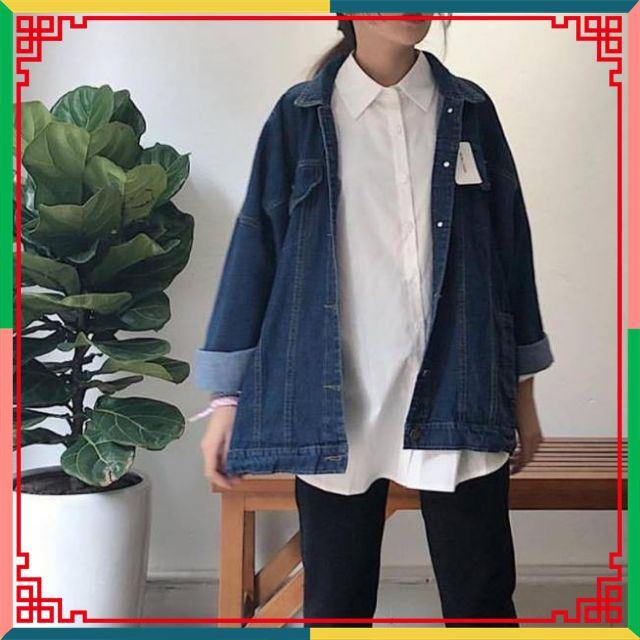 ⚡️Siêu Phẩm⚡️ áo khoác jean unisex xanh đậm nam nữ mặc đẹp