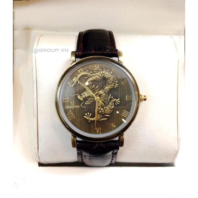 Đồng hồ Nam dây da QIANBA mặt rồng đen cao cấp QB1212D