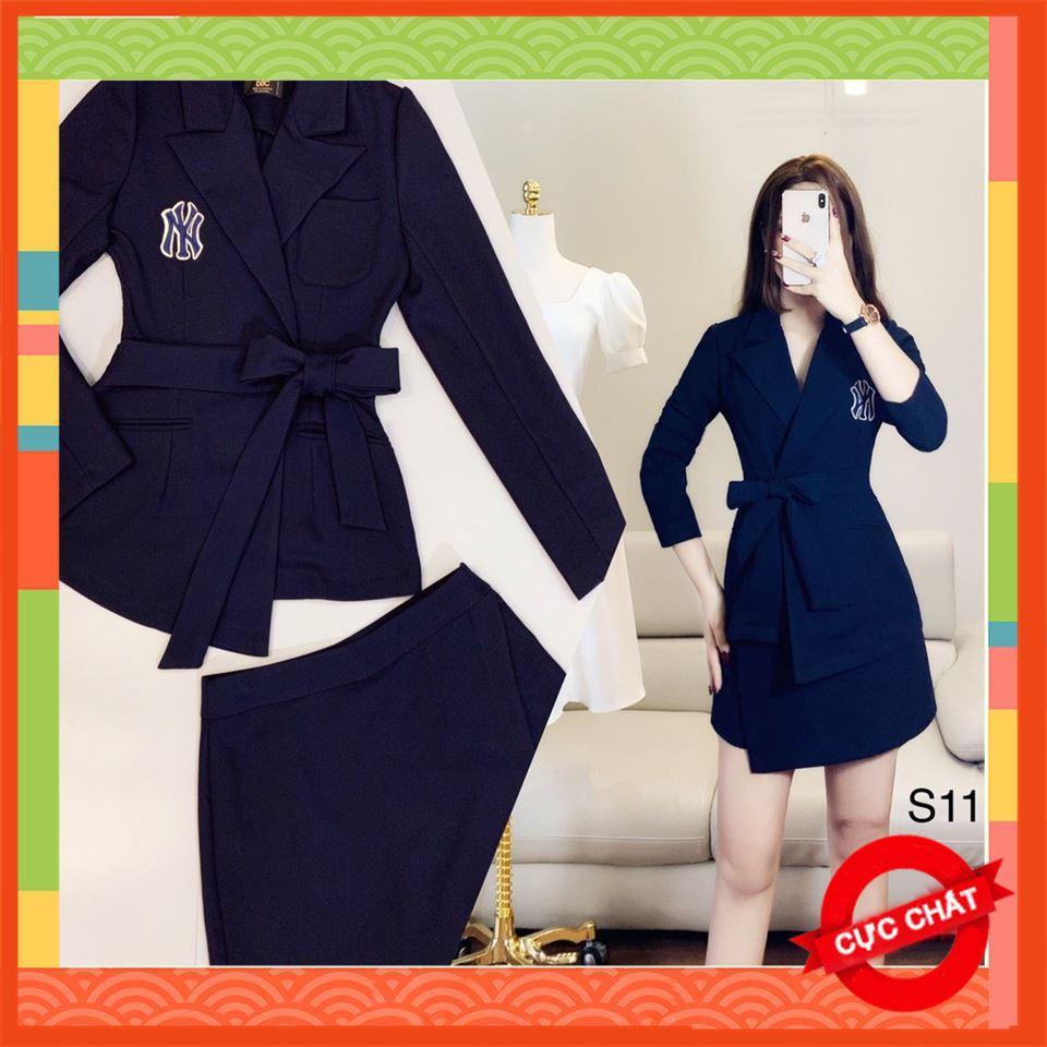 [Hot Trend] Sét Vét Chân Váy Xanh Kèm Ảnh Thật Sang Trọng