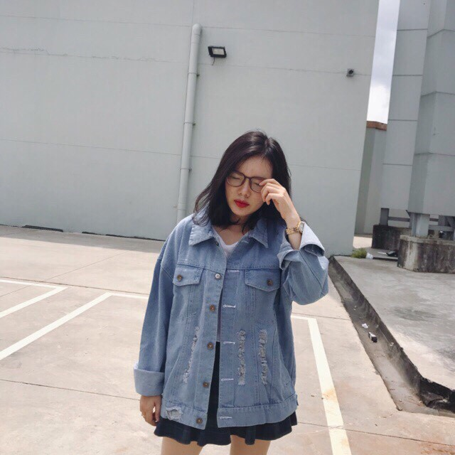 áo khoác jean fome rộng chất jean rách siêu chất đẹp