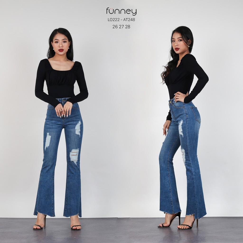 Quần Jeans Loe Rách Cắt Lai LO222