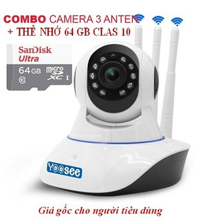 [COMBO] Camera Wifi YooSee 3 Anten HD + Thẻ 64Gb
