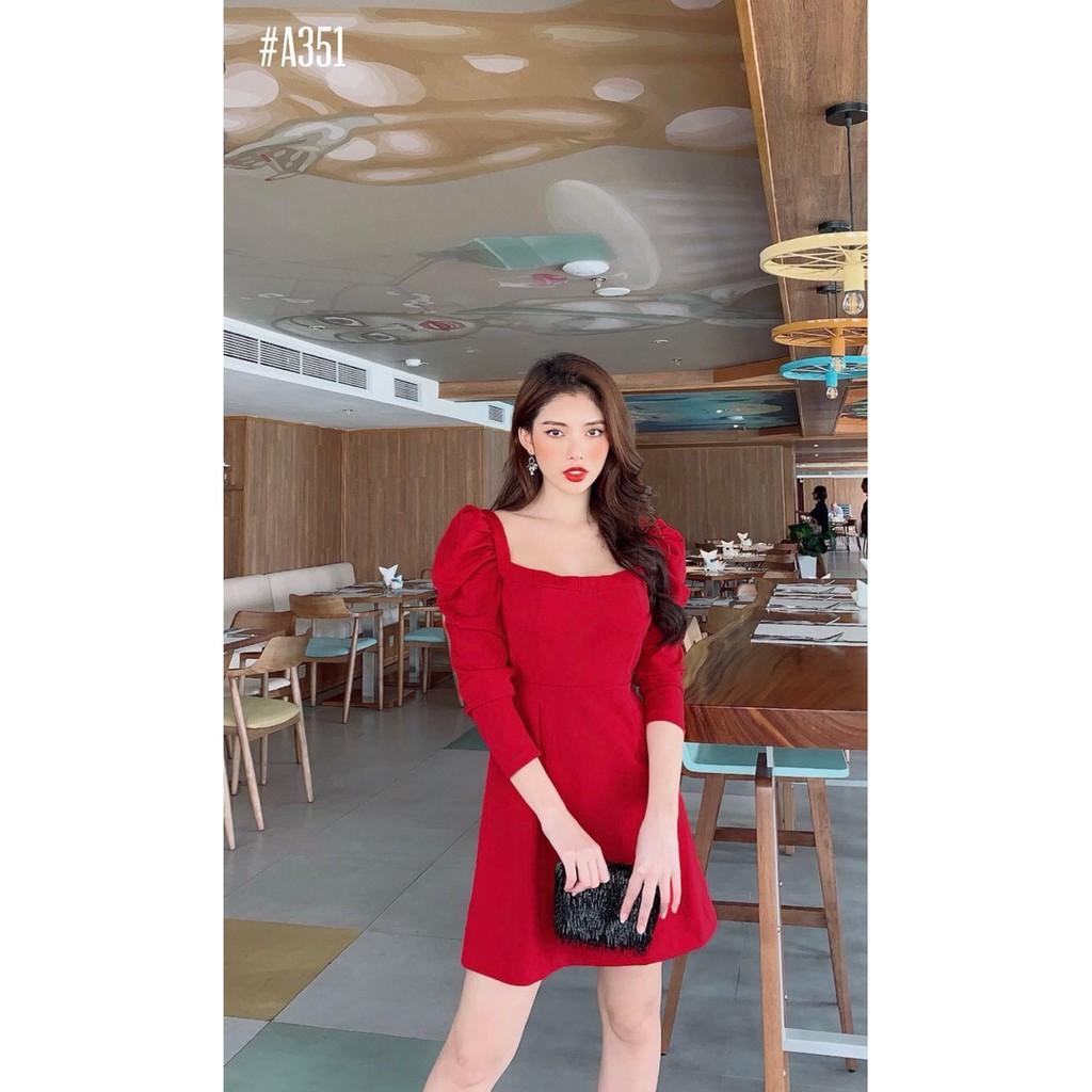 4941064869 - [HOT SALE] Váy đầm cao cấp dáng xòe với thiết kế cổ vuông tay phồng sang trọng, phù hợp công sở, dự tiệc - đỏ, đen, nude