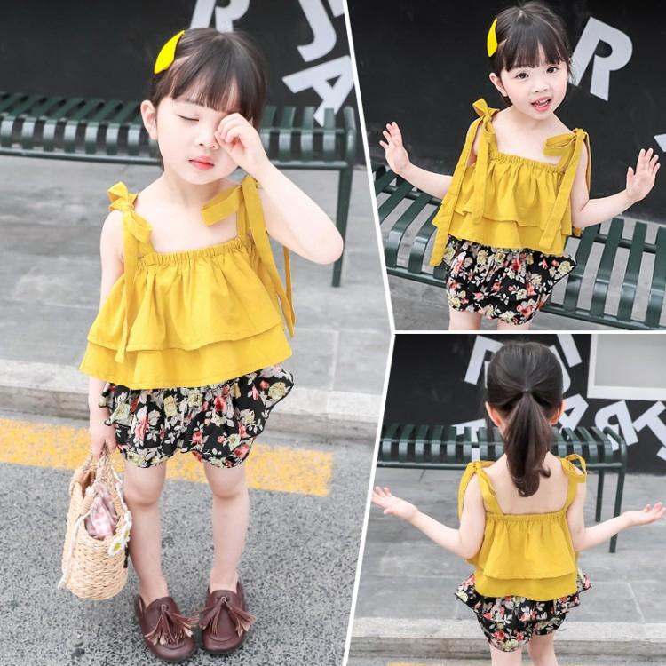 Set đồ phối áo hai dây thiết kế họa tiết hoa thời trang dễ thương dành cho bé gái