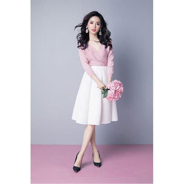 (100% chất đẹp) - Chân váy midi hoa hồng
