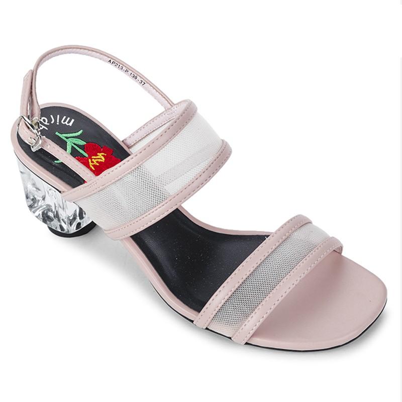 Sandals Gót Trong Quai Ngang Phối Lưới Thời Trang 139 màu hồng