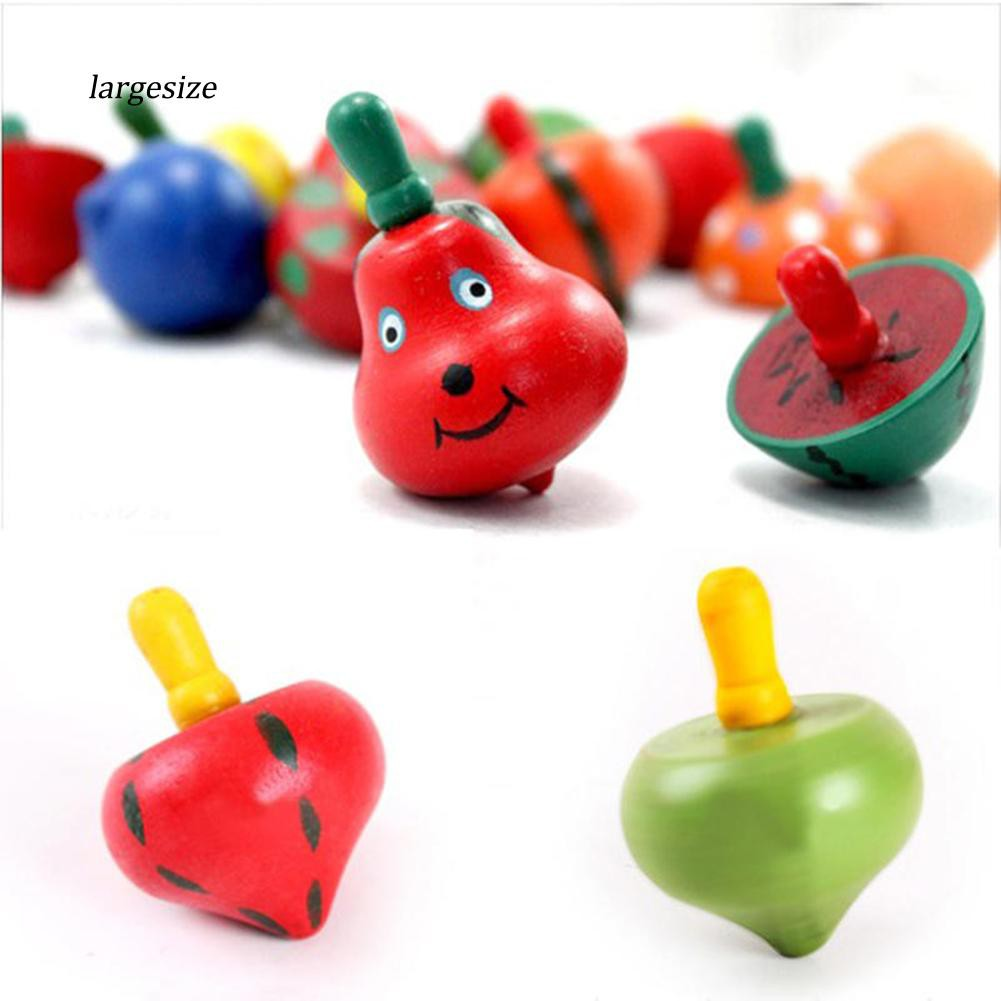 Hình ảnh LargeHeart Fruit Shaped Funny Wooden Gyro Peg-Top Spinning Top Kid Educational Toy