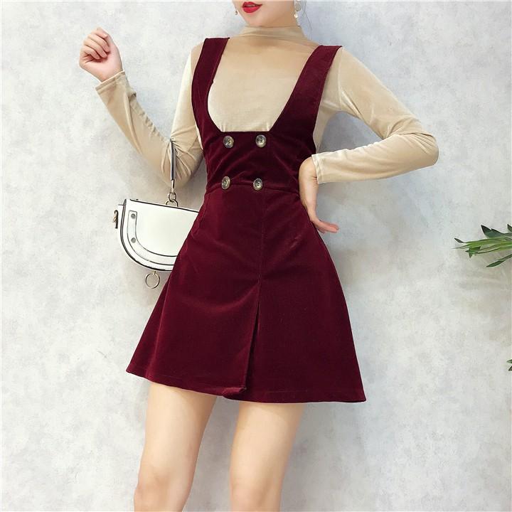 Set váy yếm + áo nhung [Đặt trước]