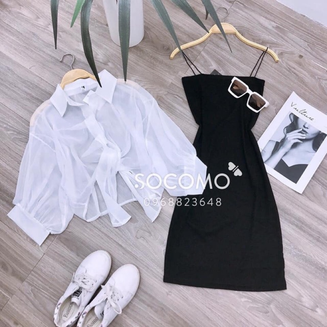 Set đầm body+áo somi