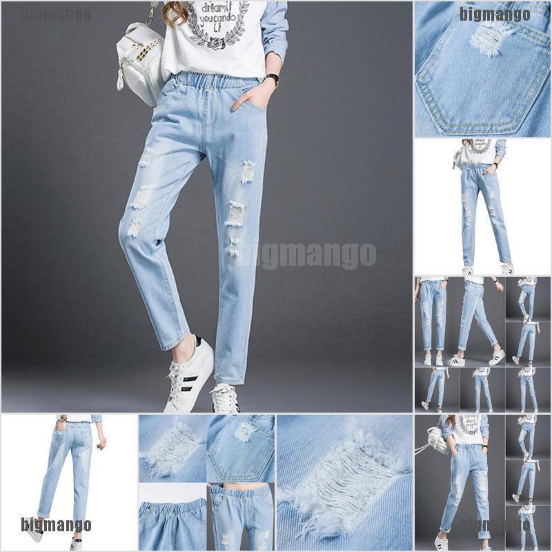 Quần jeans nữ lưng cao mài rách thời trang Hàn