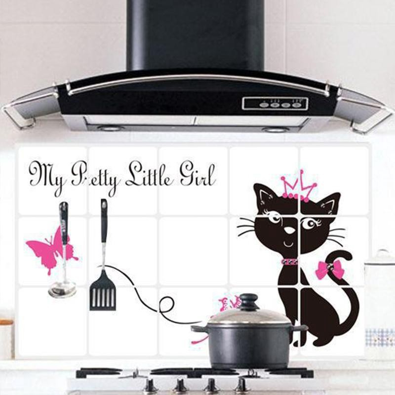 Cute Black Cat Princess Oil Proof Waterproof Hearth Wall Sticker Decal