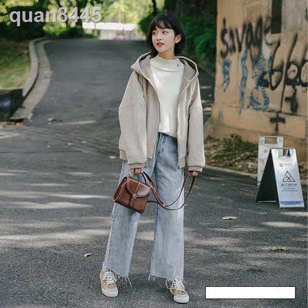 Quần Jeans Nữ Lưng Cao Ống Rộng Phong Cách Hàn Quốc