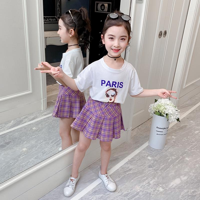 Bộ Áo Thun + Chân Váy Thời Trang Mùa Hè 2020 Cho Bé Gái