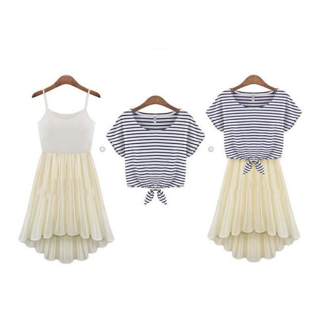 Sét váy xòe áo thun buộc