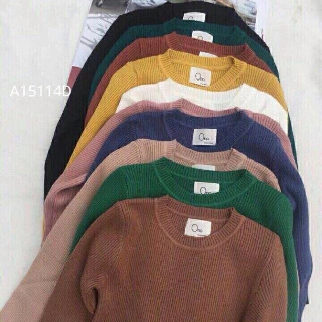 Áo len gân tay dài Quảng Châu (10 màu)