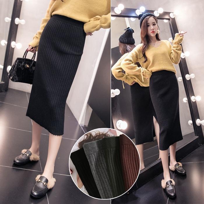 Chân váy len lưng cao xẻ tà phong cách Hàn Quốc trẻ trung dành cho nữ