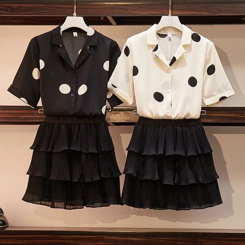 Bộ Áo Sơ Mi Chấm Bi + Chân Váy Xinh Xắn Dành Cho Nữ / Size L-4xl