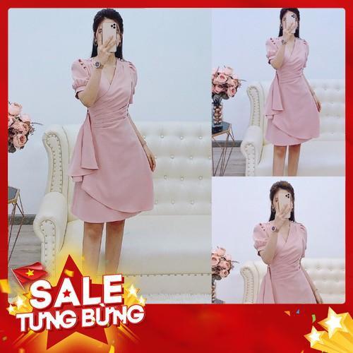 5817832052 - Đầm hồng kate Nhật dáng suông vạt xếp ly V1356 Mabizstore kèm ảnh thật -Hàng nhập khẩu