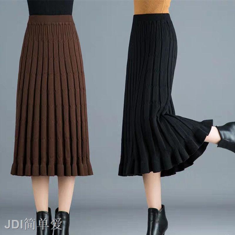 Chân Váy Dệt Kim Dáng Dài Phối Xếp Li Thời Trang Mùa Đông 2019 Cho Nữ