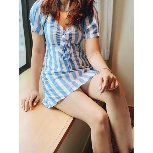 Đầm sọc bẹt vai nơ ngực kèm hình thật đầm chất lượng cao,đầm cao cấp, đầm siêu đẹp,hàng VNXK H2