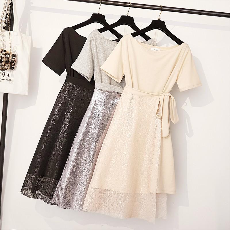 Bộ Áo Thun Ngắn Tay + Chân Váy Đính Kim Sa Lấp Lánh Xinh Xắn Cho Nữ