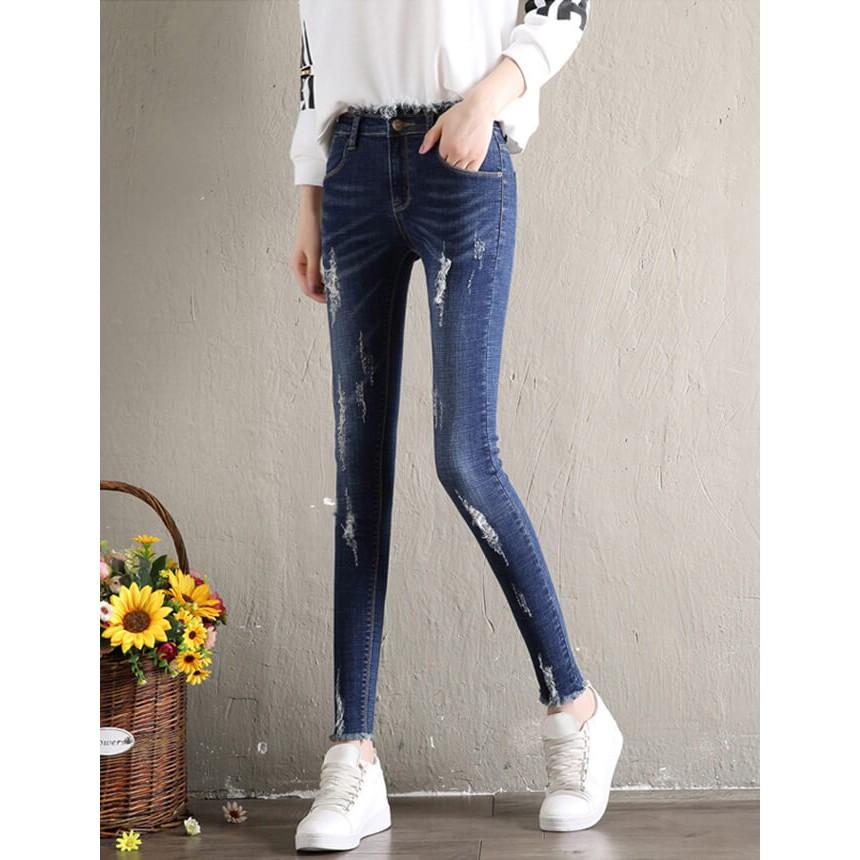 Quần jeans xước xanh đậm-AZ8189