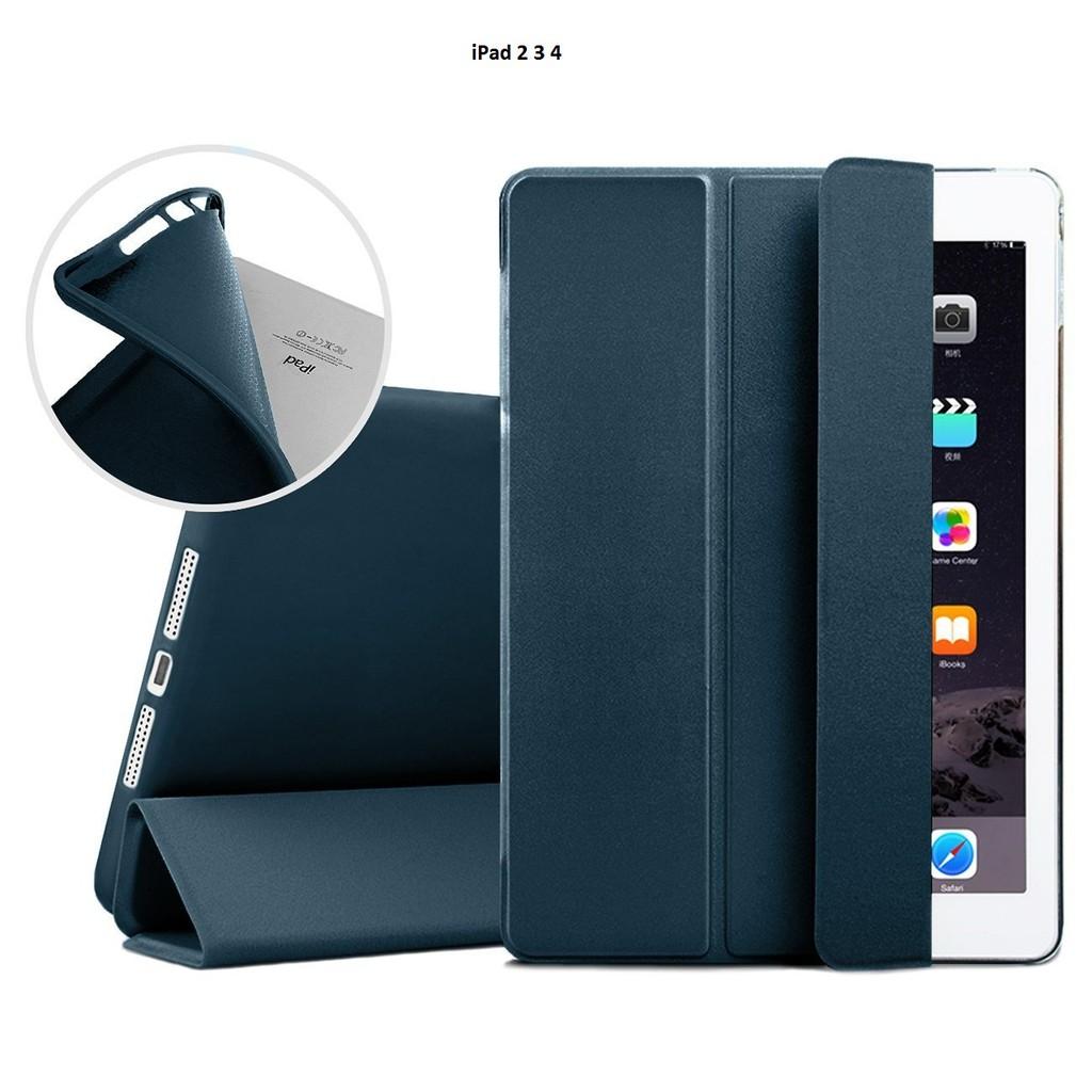 Bao da kiêm ốp lưng cho iPad 2 3 4 (xanh đen) M2