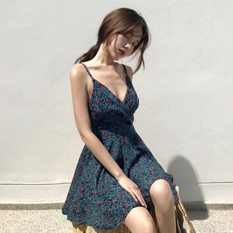 đầm 2 dây hoa nhí vintage Quảng Châu order mã 491