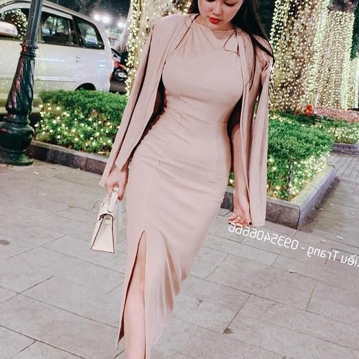 Đầm yếm body kèm áo khoác kiểu xinh xắn trẻ trung thanh lịch Đầm body mẫu đẹp dành cho nữ