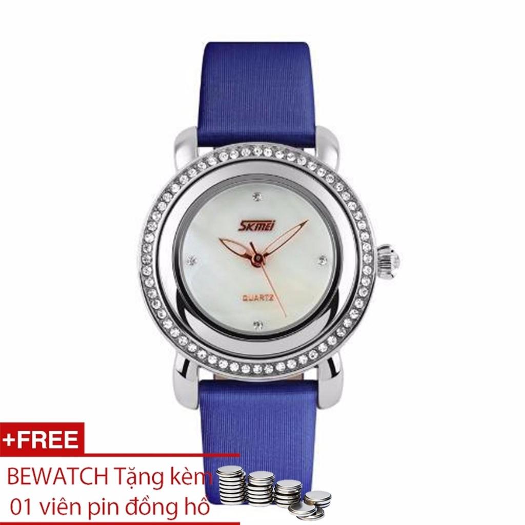 Đồng hồ nữ Skmei dây da xanh đính đá tặng kèm 1 viên pin