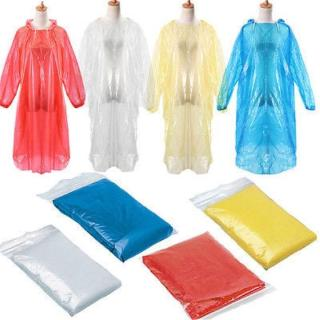 Disposable Adult Waterproof Rain Coat / Emergency Waterproof Raincoat with Hood / Bulk Extra Thick Emergency Waterproof Rain Poncho / Men Women Plastic Clear Rain Gear for Camping, Hiking, Sport or Out