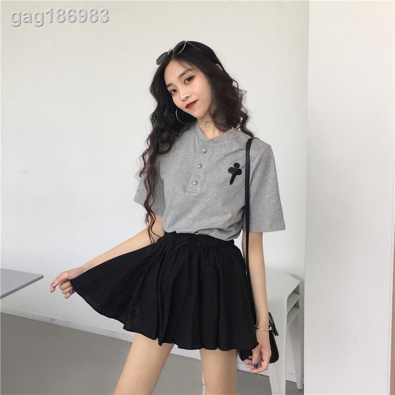 Set Áo Thun Ngắn Tay + Chân Váy Thể Thao Lưng Cao Thời Trang Dành Cho Nữ