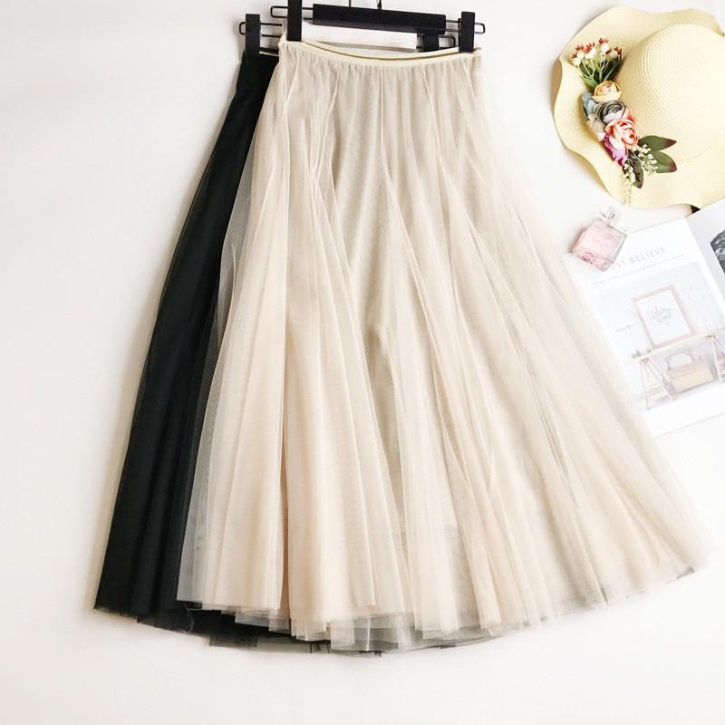 Chân váy lưới lưng thun thời trang mùa hè cho nữ