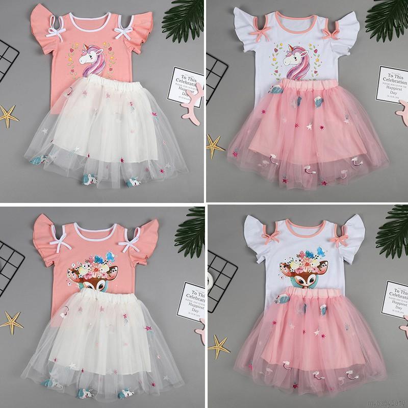 Bộ áo thun ngắn tay + chân váy lưới in hoa cho bé gái