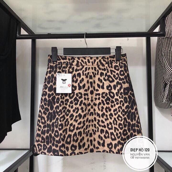 Chân váy báo da lộn hàng Quảng Châu