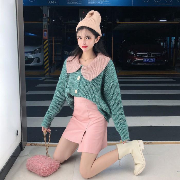 Set Áo Len Dài Tay Và Chân Váy Phong Cách Trẻ Trung Dành Cho Nữ