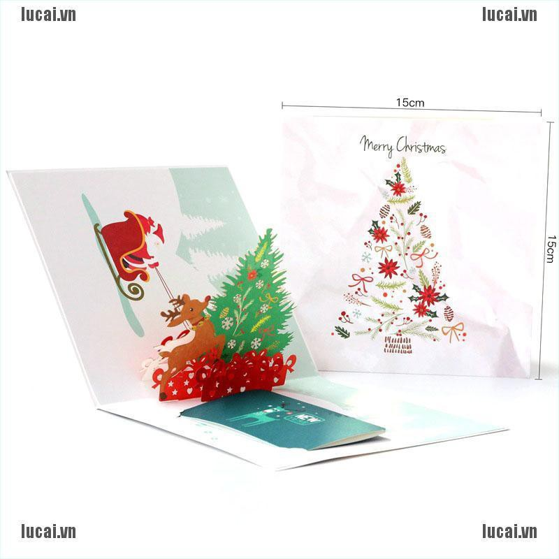【lucai^COD】Merry Christmas Greeting Cards 3D Laser Cut Xmas Postcard Kraft Gifts