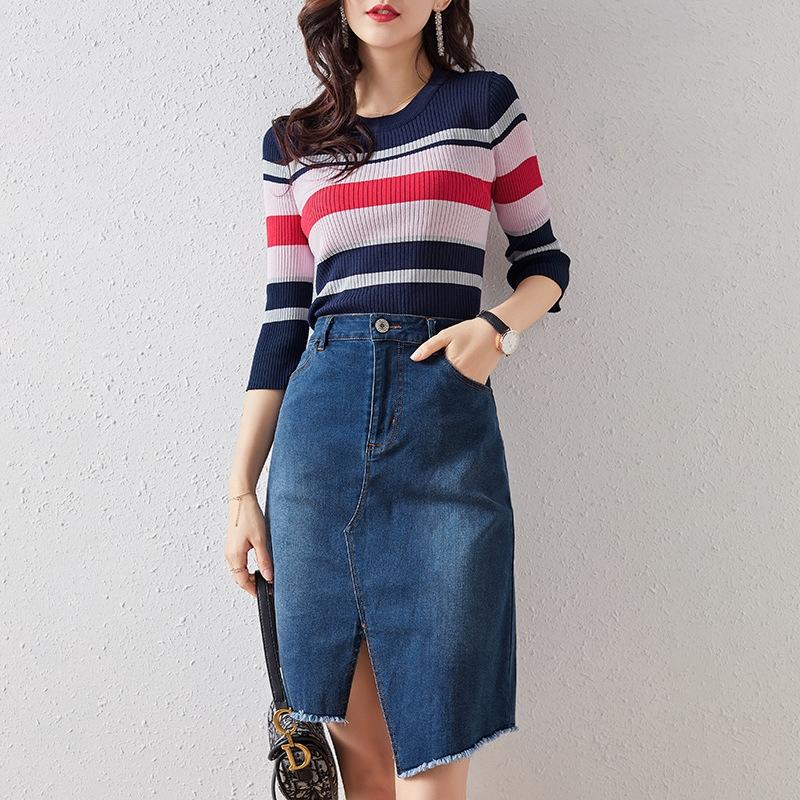 Bộ Áo Sweater Mỏng Kẻ Sọc + Chân Váy Denim Thời Trang Mùa Hè Cho Nữ