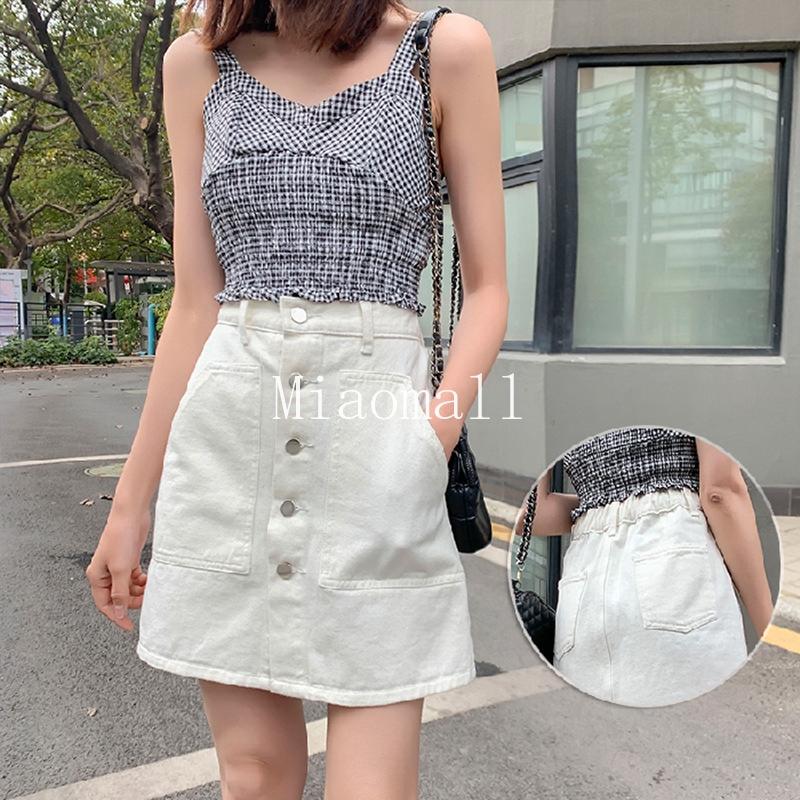 Chân Váy Denim Lưng Cao Thời Trang Mùa Hè Hàn Quốc Cho Nữ