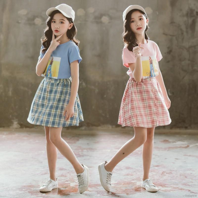 Set áo thun ngắn tay + chân váy họa tiết hoạt hình cho bé gái