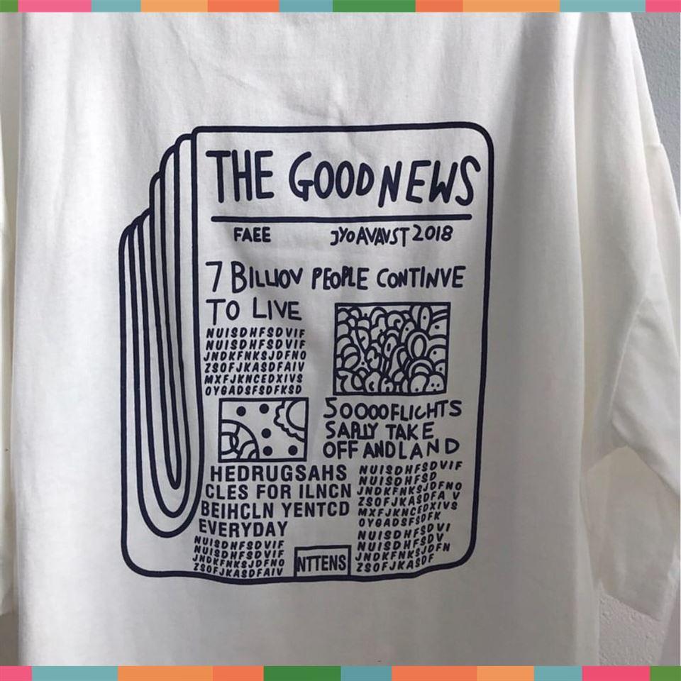 [Sale 50%] Áo Thun Tay Lỡ THE GOODNEWS Unisex ( 2 màu ) , áo thun, quần short