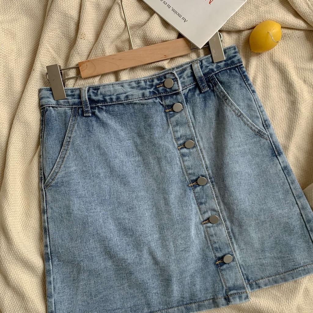 Chân váy bò chữ A một hàng cúc (có lót quần)