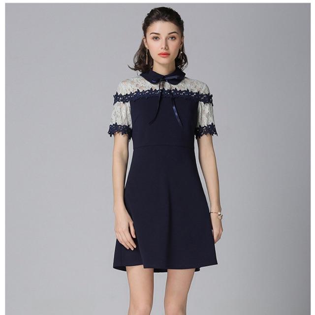 Đầm big size cổ sen vai phối ren xanh size đại 70-100kg