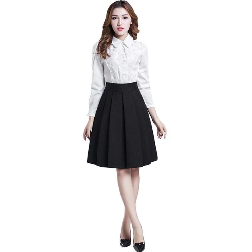 [Mã WAPUSH giảm 15% đơn 50K] Chân váy ngắn đến ĐẦU GỐI XẾP LY (ĐEN)
