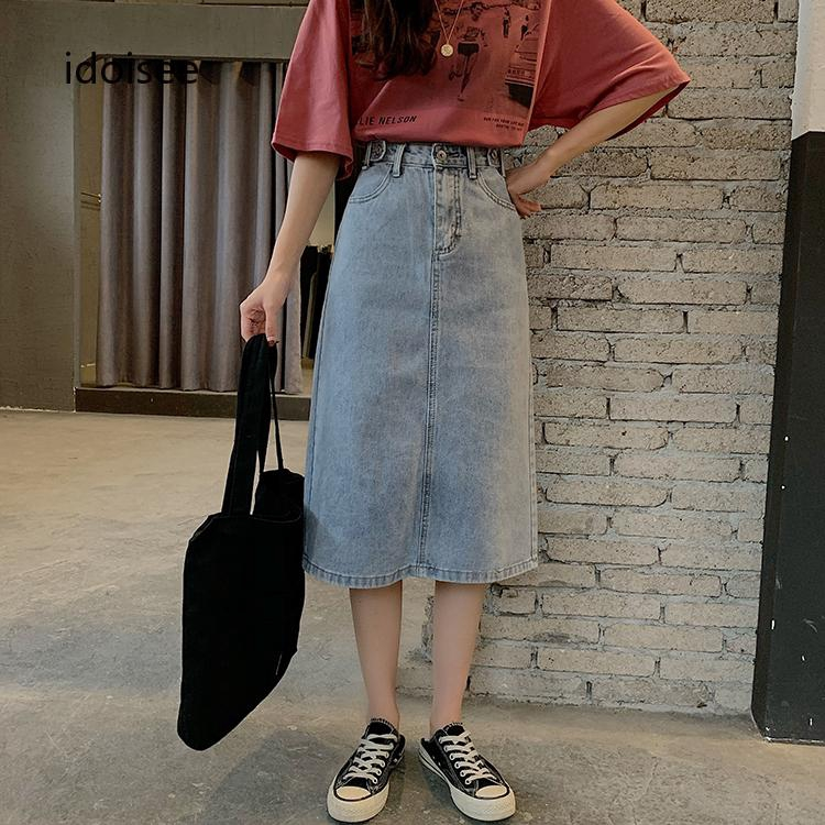 Chân váy denim lưng cao hợp thời trang cá tính cho nữ